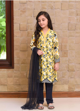 Ochre Cotton Embroidered Formal 3 Piece Suit for Girls -  OPL 47 Yellow