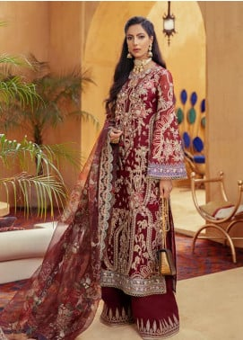 Freeshia by Suffuse Embroidered Organza Unstitched 3 Piece Suit FRS20WD Red Sienna - Wedding Collection