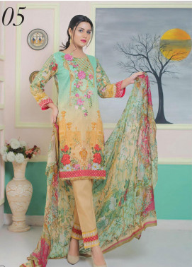 King Fabrics Embroidered Lawn Unstitched 3 Piece Suit KF20FL 5 - Summer Collction