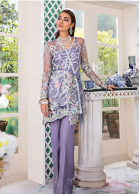 Freesia Suffuse by Sana Yasir Embroidered Zari Net Unstitched 3 Piece Suit FRS19E NUAGE - Eid Collection