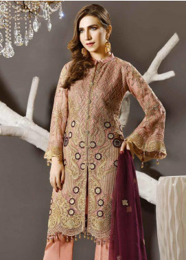 Freesia by Maryum N Maria Embroidered Chiffon Unstitched 3 Piece Suit FMM19EC 805 PEACH BLUSH - Luxury Collection