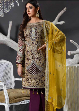 Freesia by Maryum N Maria Embroidered Chiffon Unstitched 3 Piece Suit FMM19EC 806 INDIGO AFFAIR - Luxury Collection