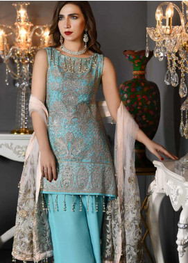 Freesia by Maryum N Maria Embroidered Chiffon Unstitched 3 Piece Suit FMM19EC 809 MARINE PEARL - Luxury Collection