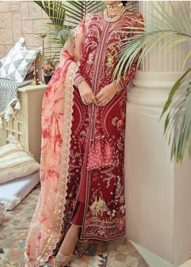 Freesia Suffuse by Sana Yasir Embroidered Net Unstitched 3 Piece Suit FRS20L Amaryllis - Luxury Collection