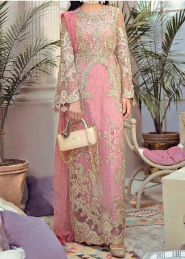 Freesia Suffuse by Sana Yasir Embroidered Net Unstitched 3 Piece Suit FRS20L Azalea - Luxury Collection