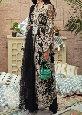 Freesia Suffuse by Sana Yasir Embroidered Net Unstitched 3 Piece Suit FRS20L Ebony Crush - Luxury Collection