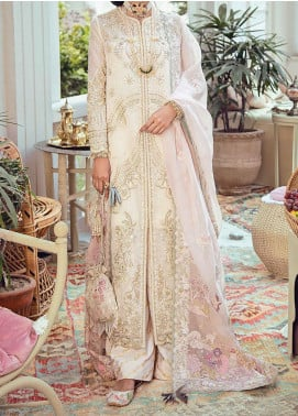 Freesia Suffuse by Sana Yasir Embroidered Cotton Unstitched 3 Piece Suit FRS20L Rose Blanc - Luxury Collection