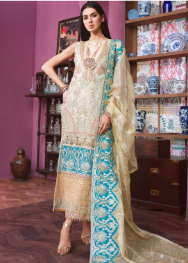 Freesia by Maryum N Maria Embroidered Organza Unstitched 3 Piece Suit FMM20C 01 OFFLING PEACE - Luxury Collection