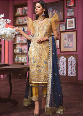 Freesia by Maryum N Maria Embroidered Net Unstitched 3 Piece Suit FMM20C 05 GALASTIC MUSF - Luxury Collection