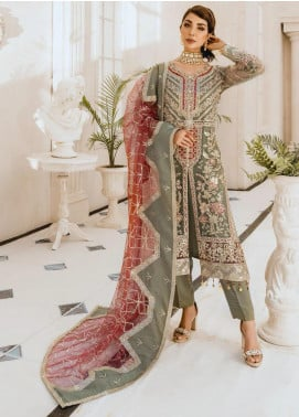 Freesia by Maryum N Maria Embroidered Net Unstitched 3 Piece Suit FMM20PC 08 Greentille - Premium Collection