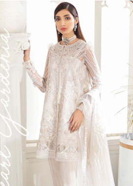 Freesia by Suffuse Embroidered Net Unstitched 3 Piece Suit FRS19W Pearl Gardenia - Wedding Collection