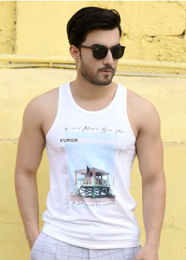 Furor  Printed Tank Tops for Men - Off White FRM18TT 008