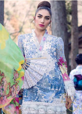 Farah Talib By LSM Embroidered Lawn Unstitched 3 Piece Suit FT18L 10 - Spring / Summer Collection