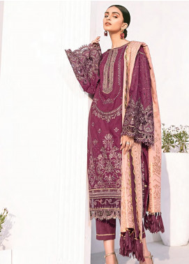 Rang Fuchsia by Baroque Embroidered Lawn Unstitched 3 Piece Suit BQ20F BANAFSHA 08 - Spring / Summer Collection