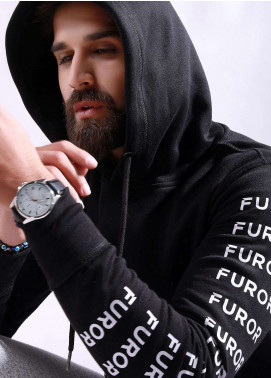 Furor Cotton Winter Hoodies for Men - Black FMTH18-009