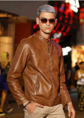 Furor Leather Casual Jackets for Men - Brown 039046
