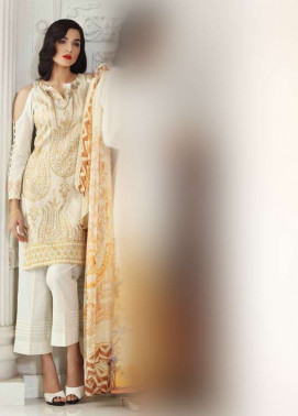 Gul Ahmed Embroidered Cotton Silk Unstitched 3 Piece Suit GA17E2 EA18