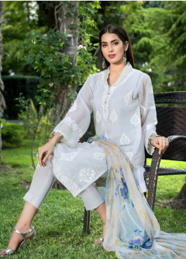 Gul Ahmed Embroidered Cotton Net Unstitched 3 Piece Suit GA18-E2 EA-48 - Eid Ul Azha Collection