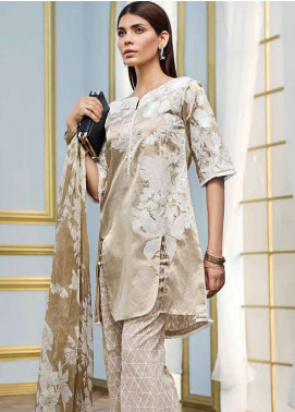 Gul Ahmed Embroidered Shimmery Unstitched 3 Piece Suit GA18E FE-154 - Festive Collection