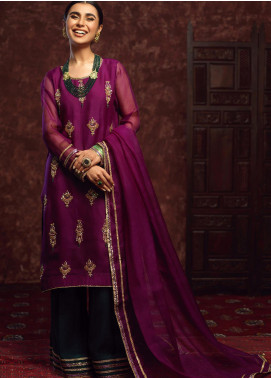 Zaaviay Embroidered Organza Stitched 3 Piece Suit GEHNA - 009 JHUMKA