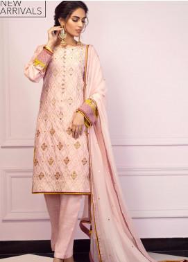 Zaaviay Embroidered Raw Silk Stitched 3 Piece Suit GEHNA2-004 MEENAKARI