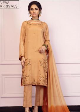Zaaviay Embroidered Raw Silk Stitched 3 Piece Suit GEHNA2-008 SONEHRI