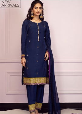 Zaaviay Embroidered Raw Silk Stitched 3 Piece Suit GEHNA2-009 SINGHAR