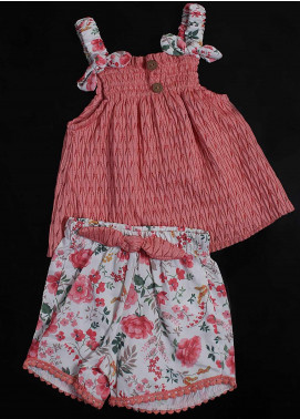 Sanaulla Exclusive Range Cotton Fancy Suit for Girls - 2008 Pink
