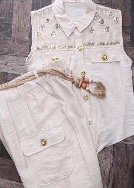 Sanaulla Exclusive Range Mix Cotton Fancy Girls Suits -  2417 Fawn