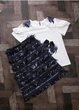 Sanaulla Exclusive Range Mix Cotton Fancy Suits for Girls -  2434 Blue