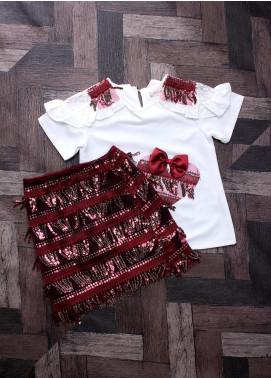 Sanaulla Exclusive Range Mix Cotton Fancy Suits for Girls -  2434 White