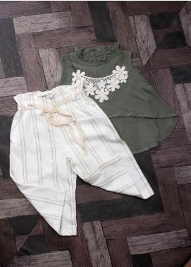 Sanaulla Exclusive Range Mix Cotton Fancy Suits for Girls -  6004 Green