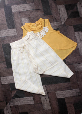 Sanaulla Exclusive Range Mix Cotton Fancy Girls Suits -  6004 Yellow