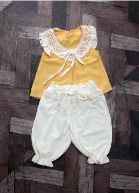 Sanaulla Exclusive Range Mix Cotton Fancy Girls Suits -  6071 yellow