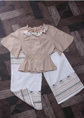 Sanaulla Exclusive Range Mix Cotton Fancy Suits for Girls -  6154 Fawn