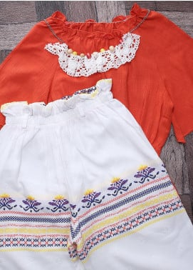 Sanaulla Exclusive Range Mix Cotton Fancy Girls Suits -  6154 Orange