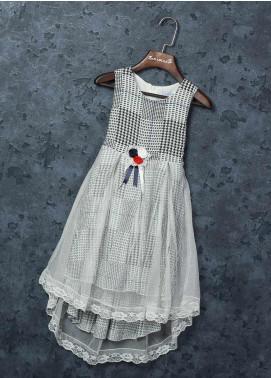 Sanaulla Exclusive Range Mix Cotton Fancy Frocks for Girls -   5487 Grey