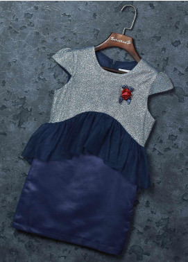 Sanaulla Exclusive Range Mix Cotton Fancy Girls Frocks - 5529 Blue