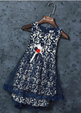 Sanaulla Exclusive Range Mix Cotton Fancy Frocks for Girls -   5566 Blue