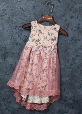 Sanaulla Exclusive Range Mix Cotton Fancy Frocks for Girls -   5570 Pink