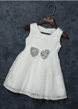 Sanaulla Exclusive Range Mix Cotton Fancy Frocks for Girls -   8514 White