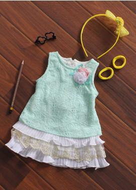Sanaulla Exclusive Range Cotton Fancy Frocks for Girls -  129 Green
