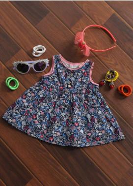 Sanaulla Exclusive Range Cotton Fancy Frocks for Girls -  144 Blue