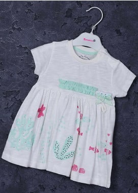 Sanaulla Exclusive Range Cotton Fancy Frocks for Girls -  2246 Off White