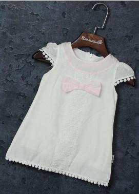 Sanaulla Exclusive Range Mix Cotton Fancy Girls Frocks -   229170 White