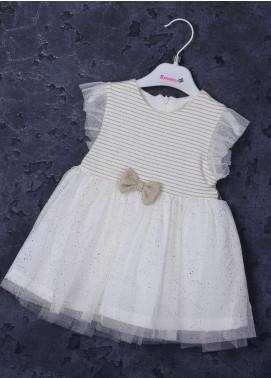 Sanaulla Exclusive Range Cotton Fancy Girls Frocks -  2634 Off White