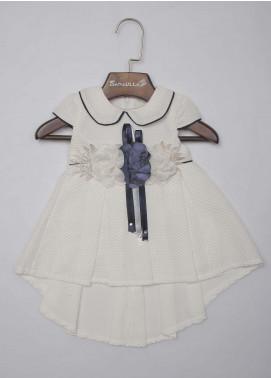 Sanaulla Exclusive Range Mix Cotton Fancy Frocks for Girls -  3290 Blue-White
