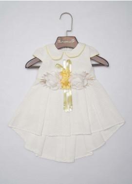 Sanaulla Exclusive Range Mix Cotton Fancy Frocks for Girls -  3290 Yellow-White