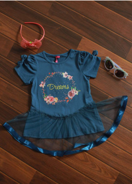 Sanaulla Exclusive Range Cotton Fancy Frocks for Girls -  3406 Royal Blue