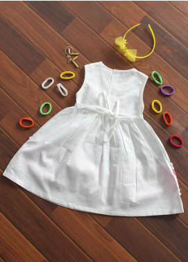 Sanaulla Exclusive Range Cotton Fancy Frocks for Girls -  482 White